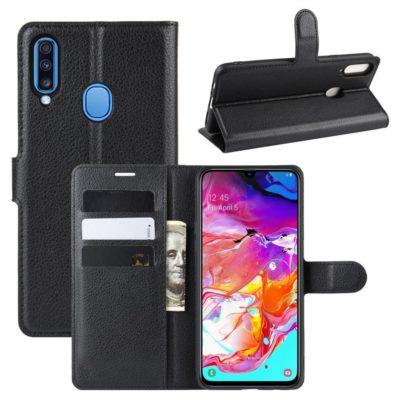 Samsung Galaxy A20s Kotelo PU-Nahka Musta