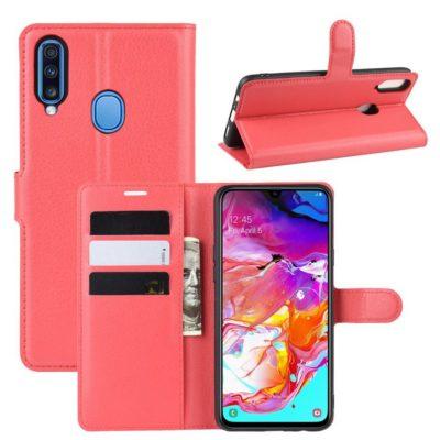 Samsung Galaxy A20s Kotelo PU-Nahka Punainen