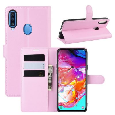 Samsung Galaxy A20s Kotelo PU-Nahka Vaaleanpunainen