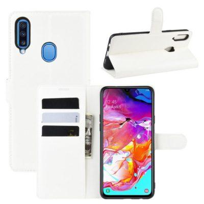 Samsung Galaxy A20s Kotelo PU-Nahka Valkoinen