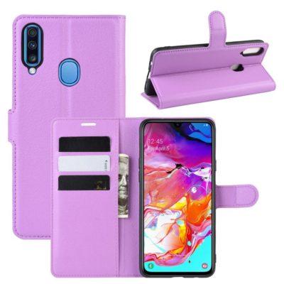 Samsung Galaxy A20s Kotelo PU-Nahka Violetti