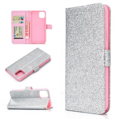 Apple iPhone 12 / 12 Pro Kotelo Glitter Hopea