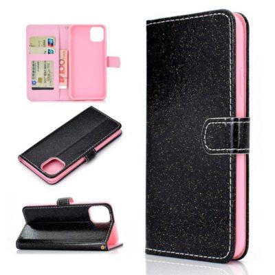 Apple iPhone 12 / 12 Pro Kotelo Glitter Musta