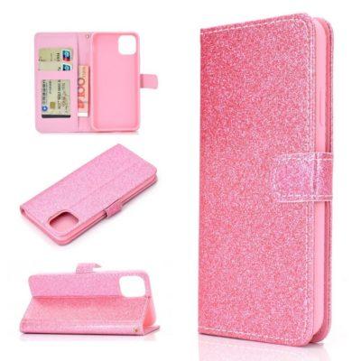 Apple iPhone 12 / 12 Pro Kotelo Glitter Pinkki