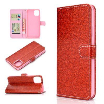 Apple iPhone 12 / 12 Pro Kotelo Glitter Punainen