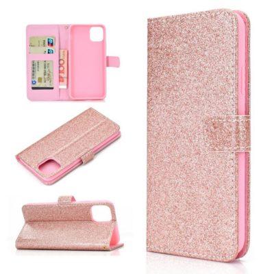 Apple iPhone 12 / 12 Pro Kotelo Glitter Ruusukulta