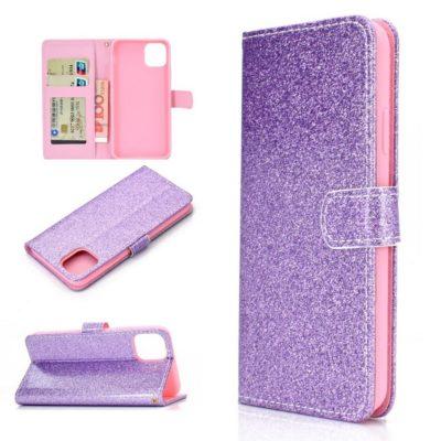 Apple iPhone 12 / 12 Pro Kotelo Glitter Violetti
