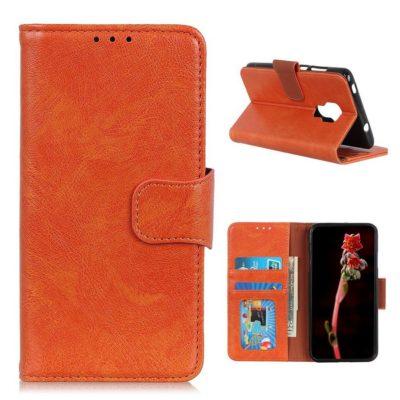 Motorola Moto G9 Play Kotelo Oranssi Nahka