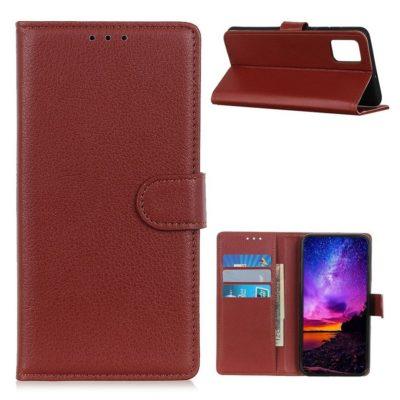 Motorola Moto G9 Plus Kotelo Ruskea Lompakko