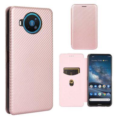 Nokia 8.3 5G Suojakotelo Hiilikuitu Ruusukulta