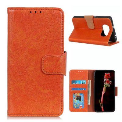 Xiaomi Poco X3 NFC Kotelo Oranssi Nahka