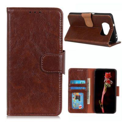 Xiaomi Poco X3 NFC Kotelo Ruskea Nahka