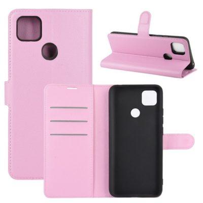 Xiaomi Redmi 9C NFC Kotelo PU-Nahka Vaaleanpunainen