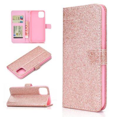 Apple iPhone 12 Pro Max Kotelo Glitter Ruusukulta