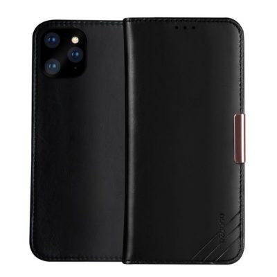 Apple iPhone 12 Pro Max Nahkakotelo DZGOGO Musta