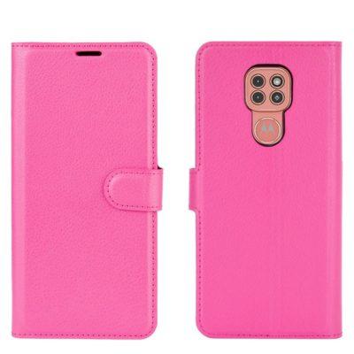 Motorola Moto G9 Play Kotelo PU-Nahka Pinkki