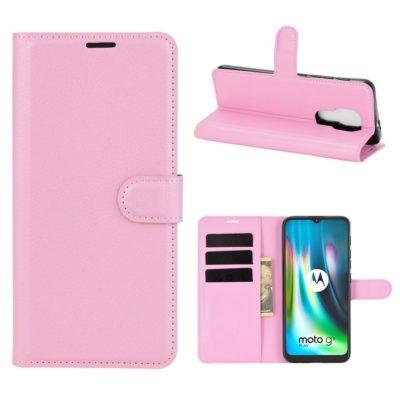 Motorola Moto G9 Play Kotelo PU-Nahka Vaaleanpunainen