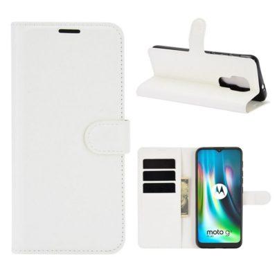 Motorola Moto G9 Play Kotelo PU-Nahka Valkoinen