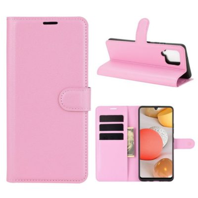 Samsung Galaxy A42 5G Kotelo PU-Nahka Vaaleanpunainen