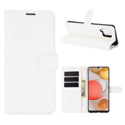Samsung Galaxy A42 5G Kotelo PU-Nahka Valkoinen