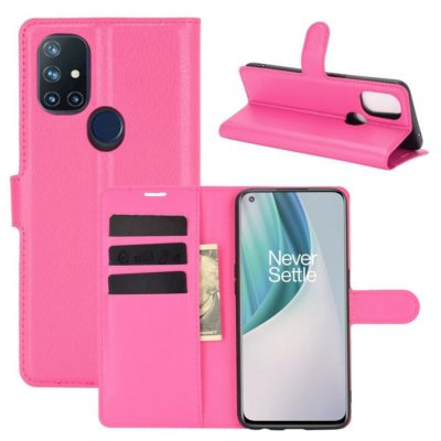 OnePlus Nord N10 5G Kotelo PU-Nahka Pinkki