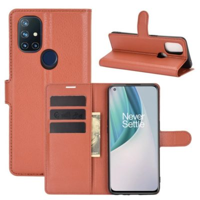 OnePlus Nord N10 5G Kotelo PU-Nahka Ruskea