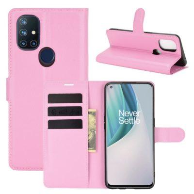 OnePlus Nord N10 5G Kotelo PU-Nahka Vaaleanpunainen