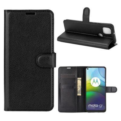 Motorola Moto G9 Power Kotelo PU-Nahka Musta