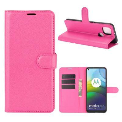 Motorola Moto G9 Power Kotelo PU-Nahka Pinkki