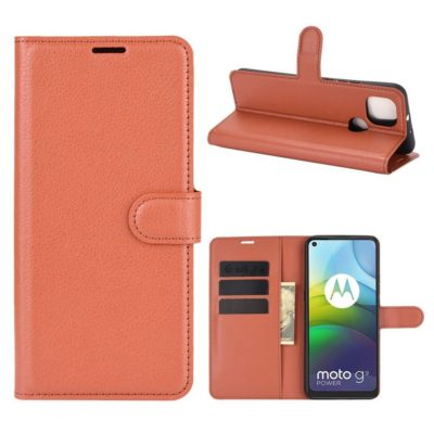 Motorola Moto G9 Power Kotelo PU-Nahka Ruskea
