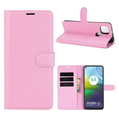 Motorola Moto G9 Power Kotelo PU-Nahka Vaaleanpunainen