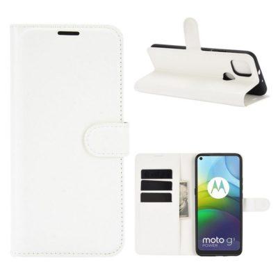Motorola Moto G9 Power Kotelo PU-Nahka Valkoinen