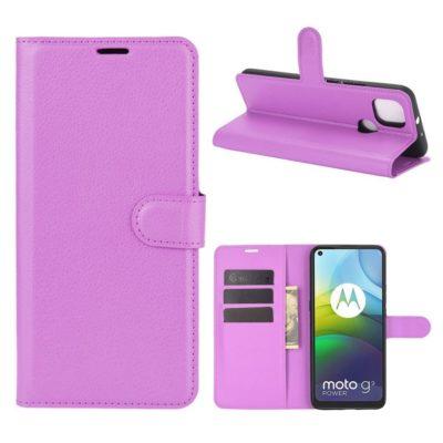 Motorola Moto G9 Power Kotelo PU-Nahka Violetti