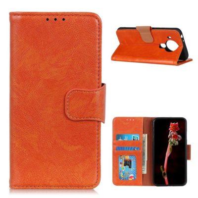 Nokia 5.4 Lompakko Suojakotelo Oranssi Nahka