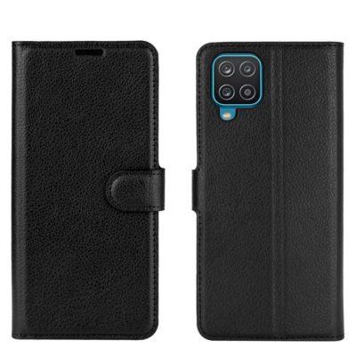 Samsung Galaxy A12 Kotelo PU-Nahka Musta