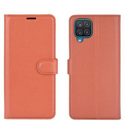 Samsung Galaxy A12 Kotelo PU-Nahka Ruskea