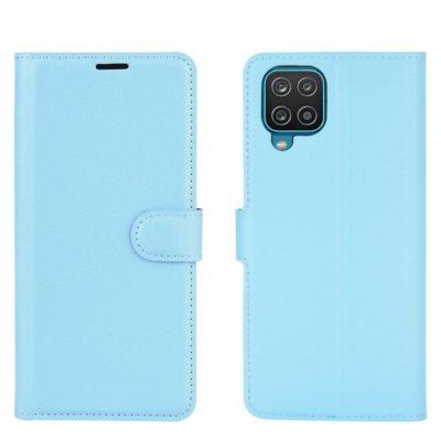 Samsung Galaxy A12 Kotelo PU-Nahka Vaaleansininen