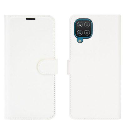 Samsung Galaxy A12 Kotelo PU-Nahka Valkoinen