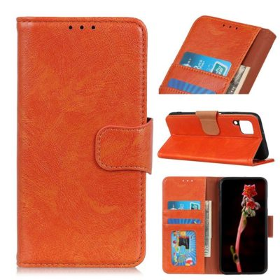 Samsung Galaxy A12 Suojakotelo Oranssi Nahka