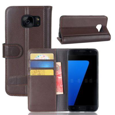 Samsung Galaxy S7 Kotelo Tummanruskea Nahka