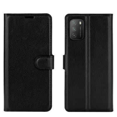 Xiaomi Poco M3 Kotelo PU-Nahka Musta