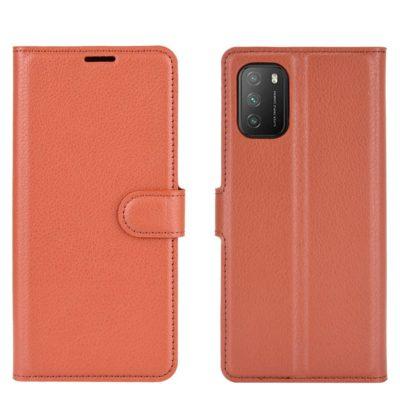 Xiaomi Poco M3 Kotelo PU-Nahka Ruskea