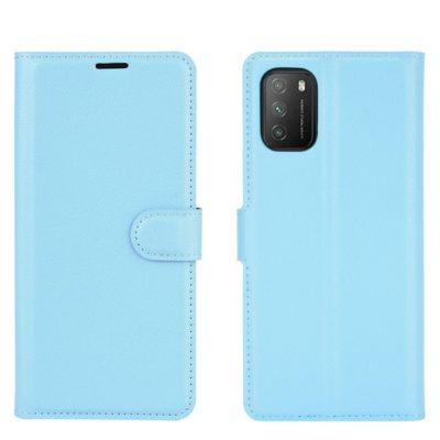 Xiaomi Poco M3 Kotelo PU-Nahka Vaaleansininen