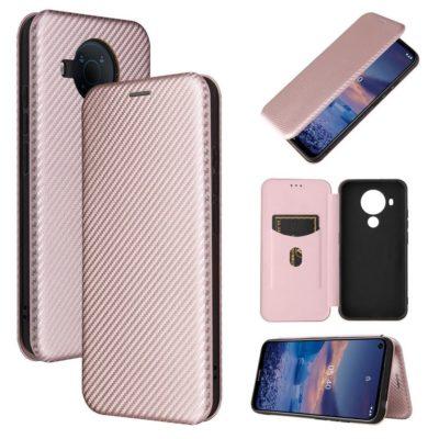 Nokia 5.4 Suojakotelo Hiilikuitu Ruusukulta