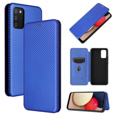 Samsung Galaxy A02s Suojakotelo Hiilikuitu Sininen