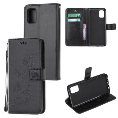 Samsung Galaxy A52 5G Suojakotelo Kukka Musta