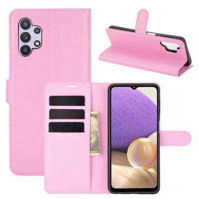 Samsung Galaxy A32 5G Kotelo PU-Nahka Vaaleanpunainen