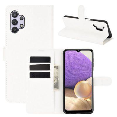 Samsung Galaxy A32 5G Kotelo PU-Nahka Valkoinen