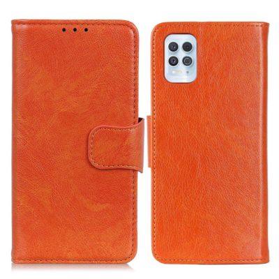Motorola Moto G100 5G Kotelo Oranssi Nahka