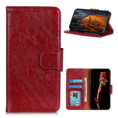 Nokia 2.4 Lompakko Suojakotelo Punainen Nahka